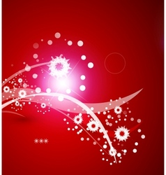 Greeting card red Christmas card with snowflakes vector image