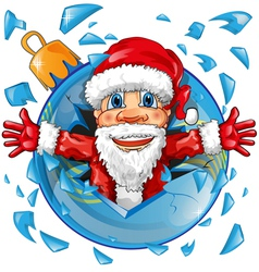 santa claus with christmas ball vector image vector image