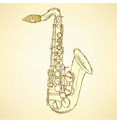 Sketch saxophone musical instrument vector image vector image