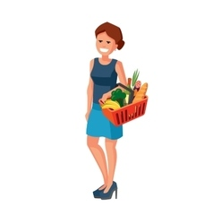 woman with shopping basket vector image vector image