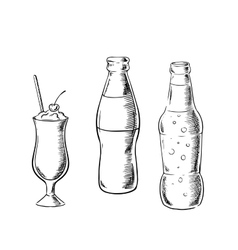 Beer sweet soda and cocktail sketches vector image vector image
