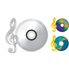 compact disc with treble clef vector image vector image