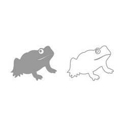 frog grey set icon vector image vector image