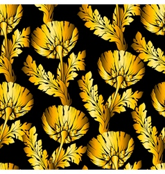 Gold garden flowers on black Seamless hand-painted vector image