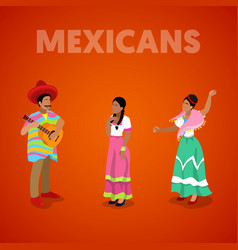isometric mexican people in traditional clothes vector image vector image