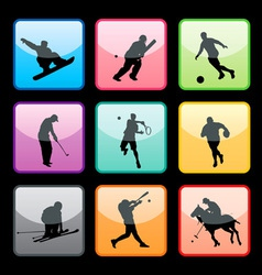 sports buttons set01 vector image vector image