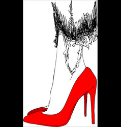 young woman on red shoes one line design vector image