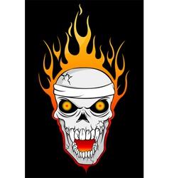 burning skull vector image