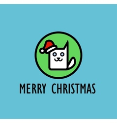 Christmas Card with image of cute kitty vector image