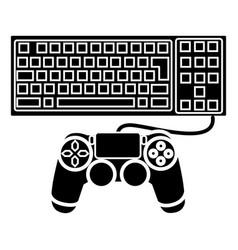 game computer icon black vector image