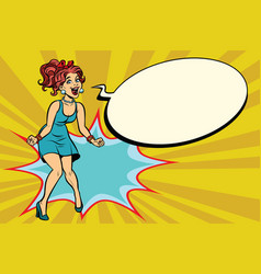 pop art retro woman shouts with joy positive vector image vector image