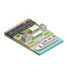 River port cruiser isometric composition vector