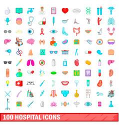 100 hospital icons set cartoon style vector