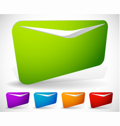 3d mail envelope symbols in 5 bright colors vector