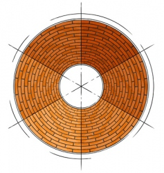 abstract architectural brick circle symbol vector image