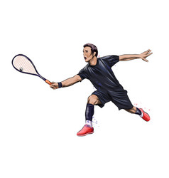 Abstract young man does an exercise with a racket vector