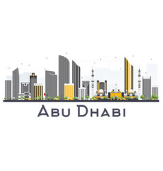 Abu dhabi uae city skyline with gray buildings vector