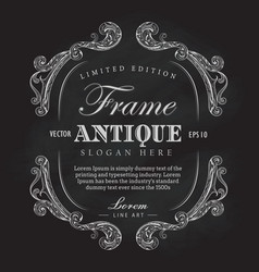 Antique frame chalkboard hand drawn vintage label vector