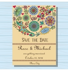Autumn wedding invitation on wooden background vector