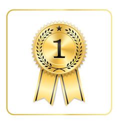 Award ribbon gold icon blank medal isolated vector