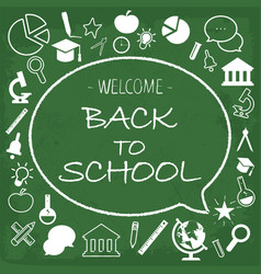 Back school card chalk hand drawn vector