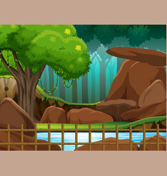 Background scene park with wooden fence vector
