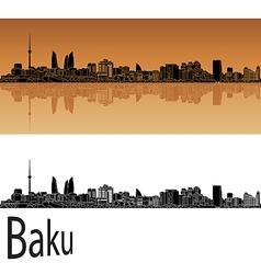Baku skyline in orange vector