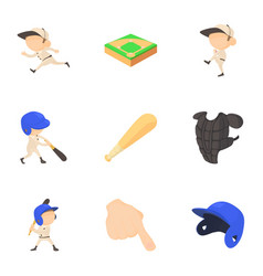 baseball player icons set cartoon style vector image