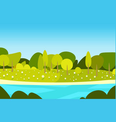 beautiful spring landscape with river and blue sky vector image