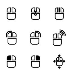 black computer mouse icon set vector image