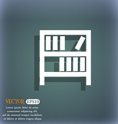 Bookshelf icon sign On the blue-green abstract vector