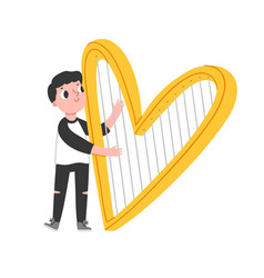 Boy with heart shaped harp vector