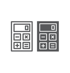 calculator line and glyph icon office and work vector image