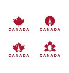 canada logo theme collection toronto tower logo vector image
