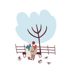 cartoon mature couple sitting on bench at winter vector image