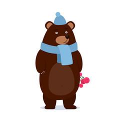 Cartoon teddy bear wearing a scarf gives gift vector