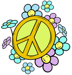 cartoon yellow peace sign with colored flowers vector image