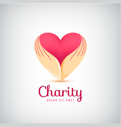 charity logo 2 hands holding heart icon vector image