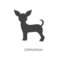 chihuahua silhouette isolated on white background vector image