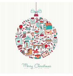 Christmas and new year doodle icon decoration vector