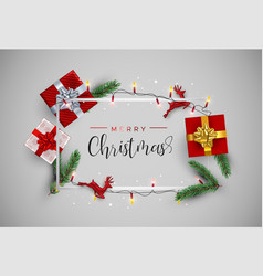 christmas card frame with red gift decoration vector image