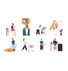 collection of scenes with woman or housewife doing vector image