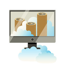 computer monitor with stack of cryptocoins poster vector image