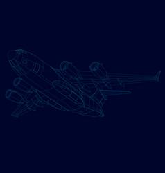 Contour plane blue lines on a dark vector