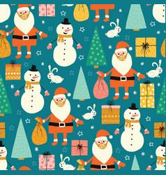 corona christmas seamless pattern santa claus vector image