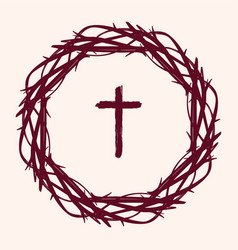 Crown thorns and cross easter religious symbol vector