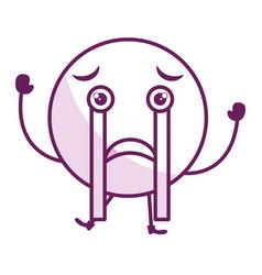 Crying face emoticon kawaii character vector