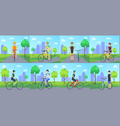 cyclists riding bicycle in park poster vector image