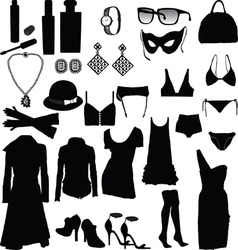Decorative and feminine clothing items vector image