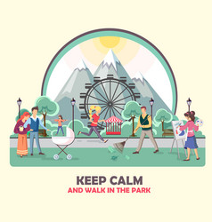 Different people walking in park vector